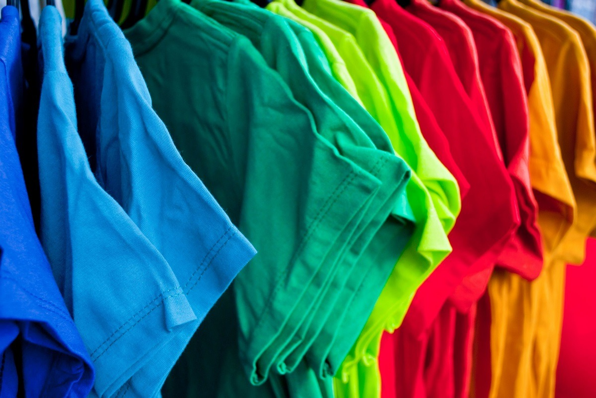 Colorful hanging t-shirts